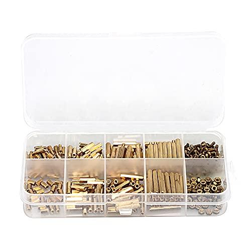 Swetup Juego de 320 espaciadores hexagonales de latón, M2 Standoffs, tuercas surtidas, juego de tuercas, espaciadores, tornillos, tuercas, espaciadores de latón, con caja