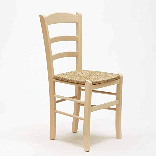 Sedia in legno grezzo da verniciare seduta in paglia ristorante casa PAESANA già montata