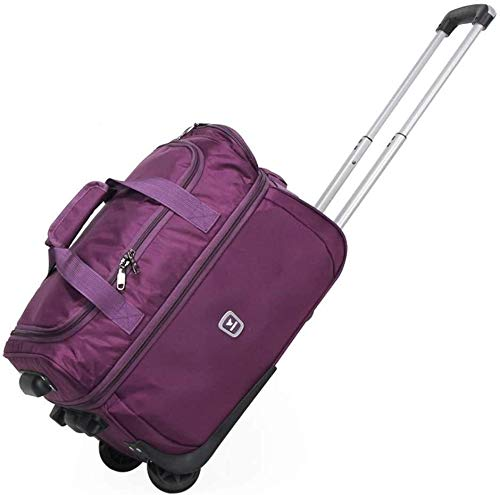 samantha Traveling backpack Trolley Oxford Cloth Box Large Capacity Portable Canvas Transport Bags Canvas Bag Student Trolley Case (Color : Purple, Size : 27 inches)