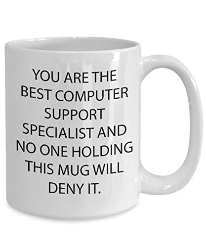 N\A Regalo de Taza de té de café de cerámica, el Mejor especialista en Soporte informático Una Taza de café Divertida con Soporte informático de 11 oz