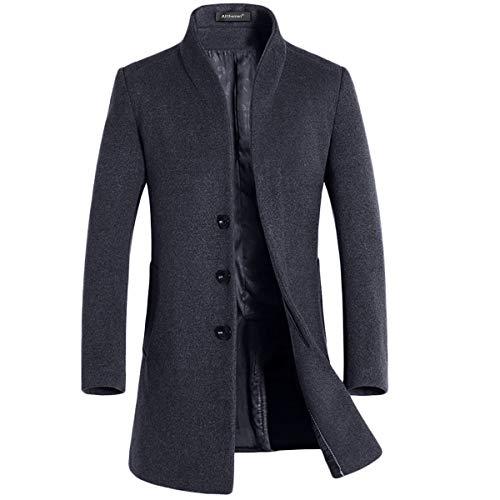 cappotto uomo fashion Allthemen Cappotto Invernale da Uomo Slim Fit Trenchcoat Lungo in Lana Coat Business Caldo da Lavoro a Manica Lunga grigio L