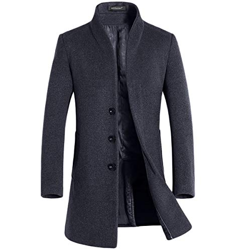 Allthemen Wintermantel Herren Mantel Slim Fit Lang Wollmantel Business Trenchcoat Mantel Herren Winter