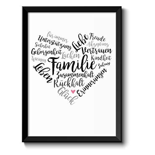 Familie Liebe Leben Herz Bild im schwarzem Holz-Rahmen Geschenke Geschenkideen Muttertag Vatertag Muttertagsgeschenk Mama Papa