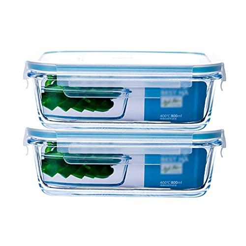 Juegos de recipientes Recipientes De Almacenamiento De Alimentos Con Párpados 2 Unids Caja De Mantenimiento De Vidrio Resistente Al Calor, Rectángulo 800ml / 1800ml, Refrigerador, Horno De(Size:800ml)