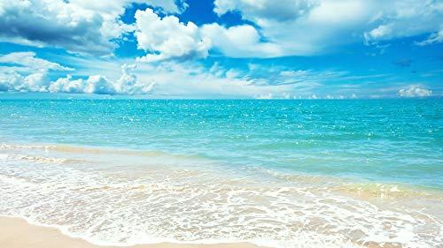 genmaimeima Puzzle da 1000 Pezzi per Adulti -Blue Mare Estate Mare Spiaggia Cielo Nuvole- assemblaggio in Legno Decorazione per Il Gioco del Giocattolo Domestico