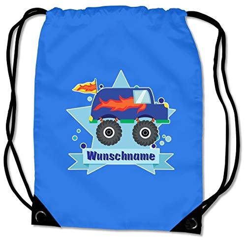 Samunshi® Turnbeutel mit Monstertruck Van und Name für Jungen und Mädchen personalisierbar personalisiert mit Namen Sportbeutel für Schule Sport Sporttasche Saphir blau