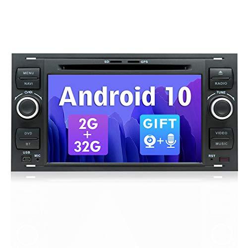 SXAUTO Android 10 Autoradio Doppio DIN per Ford C-Max/Connect/Fiesta/Focus/Fusion/Galaxy/Kuga S-Max/Transit/Mondeo - 2G/32G - Gratuita Camera Microfono - 7 pollici - 4G WiFi DAB BT5.0 Volante Carplay