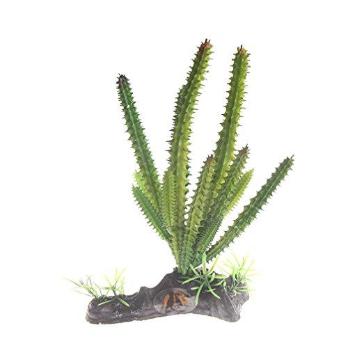 emours Aquariumdeko Kaktuspflanze aus Kunststoff, Dekoration für Aquarien, Wüste und Reptilien