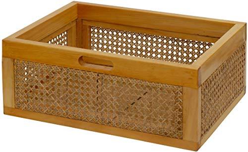 Rattan Regalkorb Wiener Geflecht stabil Holz-Rahmen Flechtkorb Schub Regal Korb Geflochten Schrankkorb Honig