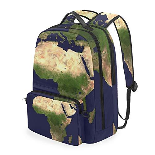 Blue Space Afric Map Mochilas Escolar Impermeable Mochila Escolares Bolso con Mensajero para Estudiante Niñas Niños
