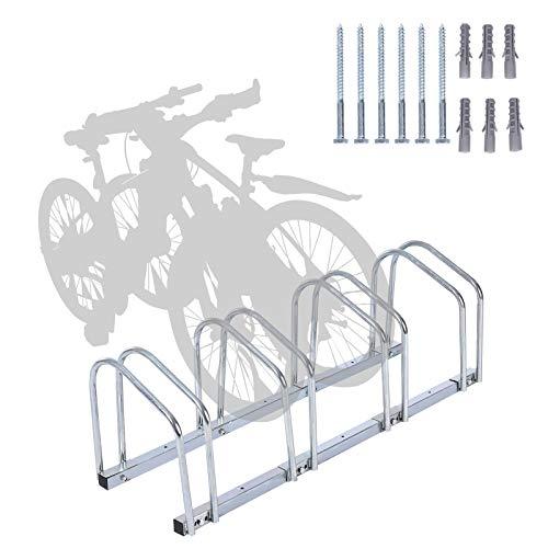 Fahrradständer, wowspeed Aufstellständer Fahrrad Bodenständer für 4 Fahrräder, 35-92 mm Reifenbreite, Radständer Metallisches verzinktes Stahlrohr, langlebig und rostfrei, platzsparend (4 Fahrräder)