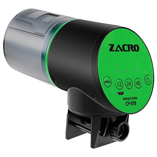 Zacro Comedero de Peces Automáticos Lite para ≤24mm Pecera, Alimentador de Peces con Cargador USB para Acuario, Pecera, Dispensador de Comida para Peces