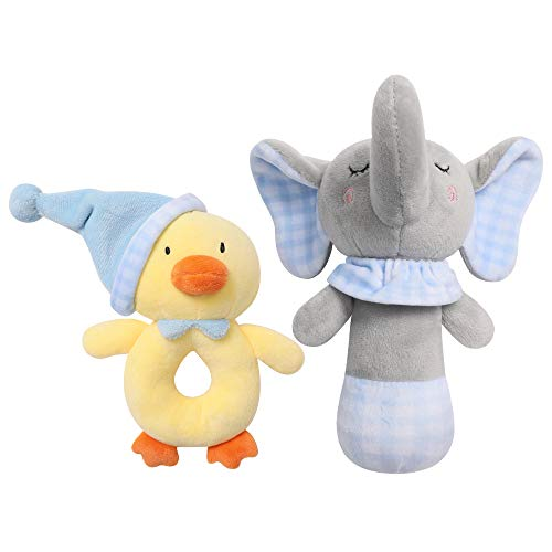 TILLYOU 2 PCS Soft Baby Rattle for Newborns Plush Stuffed Animal Rattle Rattle Shaker Set for Infants Shower Gifts for Girls Boys Shaker amp Teether Toys for 3 6 9 12 Months Elephant/Ducking