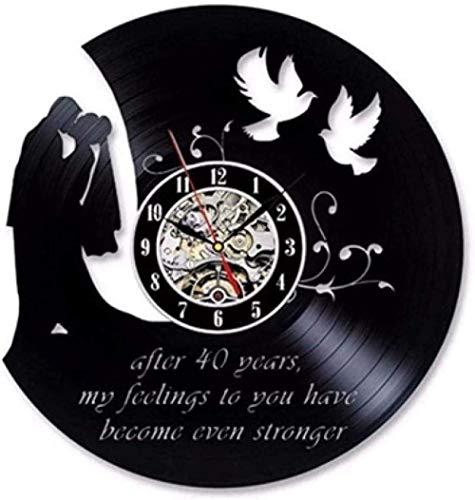 zgfeng Reloj de Pared de Vinilo 40 Aniversario Aniversario de Bodas Reloj de Pared Disco de Vinilo Vintage Reloj de Pared decoración de Regalo Reloj con luz Reloj de Pared silencioso