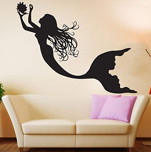 NSRJDSYT Calcomanía de Sirena para Pared, decoración artística para guardería, Vinilo, Silueta de Sirena, Pegatina de Pared, calcomanía de Sirena, Pegatinas de decoració 56x42cm