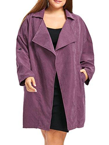 LvRao Donna Risvolto Trench Coat Irregolare Cappotto Manica Lunga Caldo Parka Largo Outwear