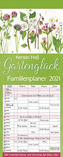 Gartenglück 2021: Familienplaner - 4 große Spalten mit viel Platz. Hochwertiger Familienkalender für Gärtner mit Ferienterminen und Vorschau bis März 2022. 19 x 47 cm.