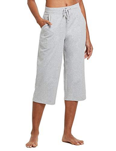 BALEAF Women's Lightweight Yoga Capris Pants Straight Wide Leg Crop Capri Lounge Pocketed Crop Pants Light Gray Size XL