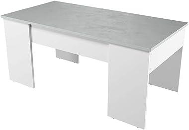Loungitude - Table basse avec plateau relevable - Blanc / béton