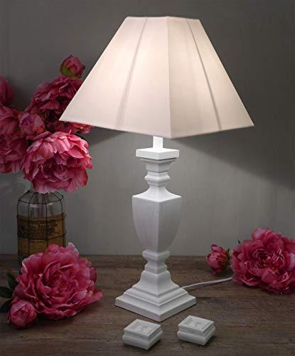 CdCasa Lampe Tischlampe Nachttischlampe, Tischlampe mit Lampenschirm Vintage Landhaus Shabby - Vintage - 62x40 - Antik weiß