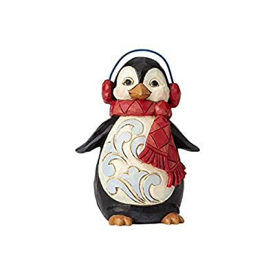 "Enesco Jim Shore Heartwood Creek Mini Penguin with Ear Muffs Figurine, 3.75"", Multicolor"