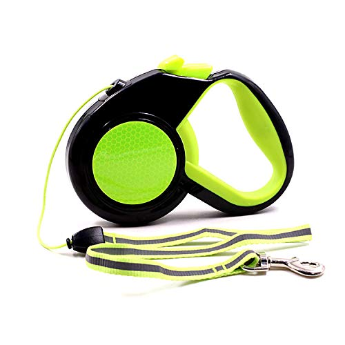 lirong Retractable Dog Leash, 5m Heavy Duty Pet Walking Leash Easy One Button Brake & Lock, for Dogs Up to 30kg for Small to Large Dogs(S, Green)