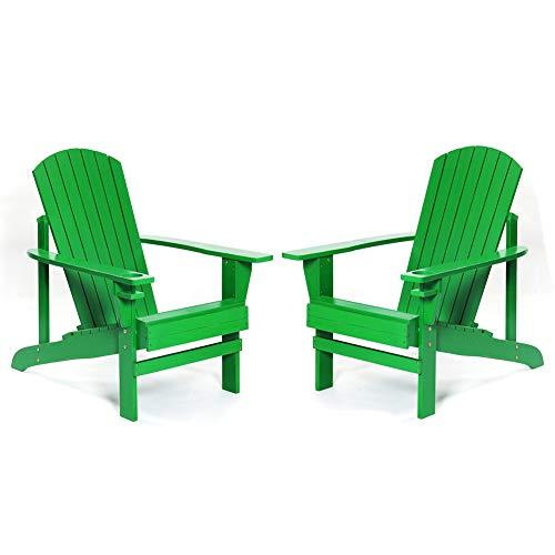 ZDYLM-Y Chaise Adirondack avec Porte-gobelet, chaises de Patio imperméables et résistantes aux intempéries, pour terrasse de Balcon de pelouse, 2 pièces,Vert