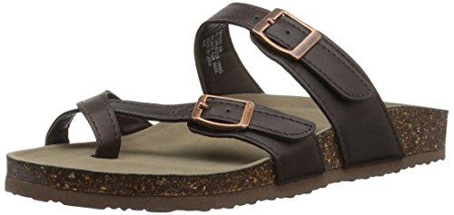 Madden Girl Women's Bryceee Flat Sandal, Dark Brown, 8.5