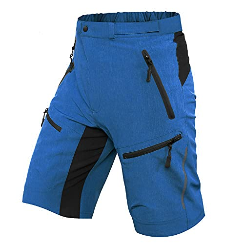 Ally MTB Hose Herren Radhose, Mountainbike Hose Fahrradhose Herren Kurz, Outdoor Sport Herren Radlerhose MTB Bike Shorts (Blau, M/cm(Taille:80-85,Hüften:99-105))