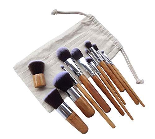Pinceau de maquillage en bambou naturel 11 séries de pinceau de fard à paupières avec sac à pinceaux