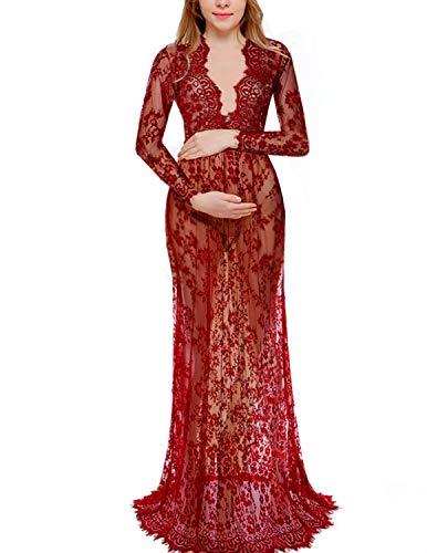 BUOYDM Donna Vestito da Gravidanza da Fotografia Elegante per maternità Vestito in Pizzo a Maniche Lungo Sexy Maxi Vestiti Rosso M