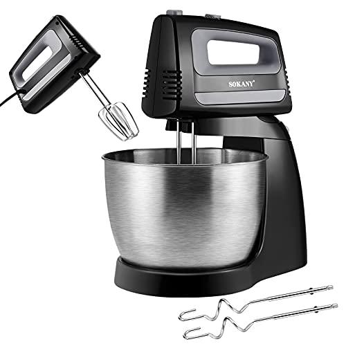 Batidora Amasadora, BITOWAT 400W Amasadora de Pan Repostería 3.5L 5 Velocidades Robot de Cocina Automática Multifuncional con Gancho de Amasar y Paleta Mezcladora