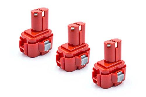 vhbw 3x NiMH batterie 1500mAh (9.6V) pour outil électrique outil Powertools Tools comme Makita 9100A, 9101, 9101A, 9102, 9102A