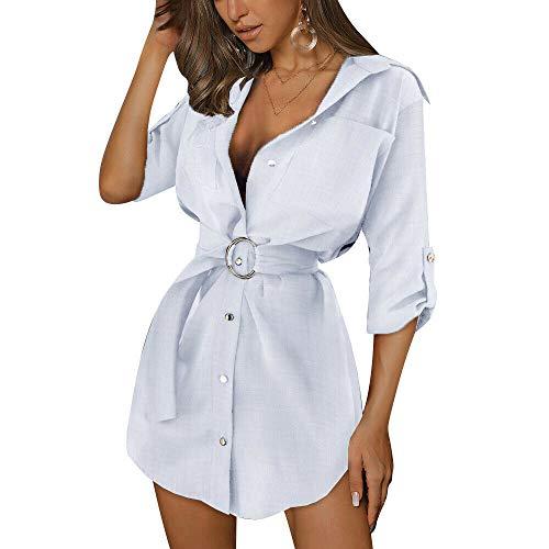 Topcl Minikleid für Damen, mit Gürtel, langärmlig, modisch, lässig, Arbeit, einfarbig, weiß, M
