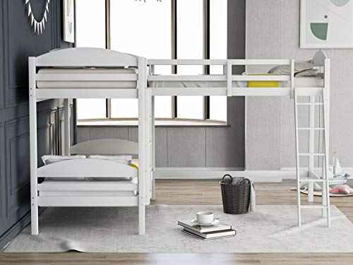 L-Shaped Twin Size Bunk Bed and Loft Bed, Solid Wood Bed Twin Over Twin Bunk Bed with Ladder No Box Spring Needed, Space Saving Design, Ship from America Local Warehouse (Color : White)