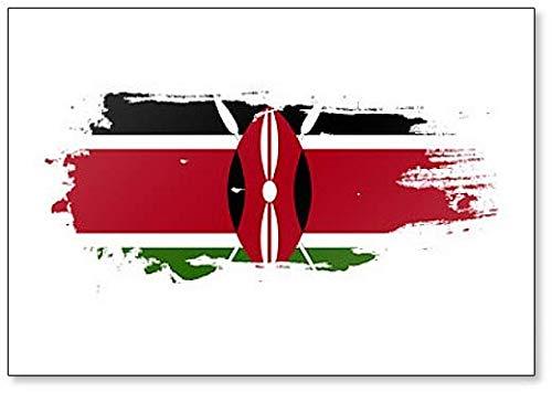Kühlschrankmagnet mit Kenia-Flagge, Grunge Brush Stroke Illustration