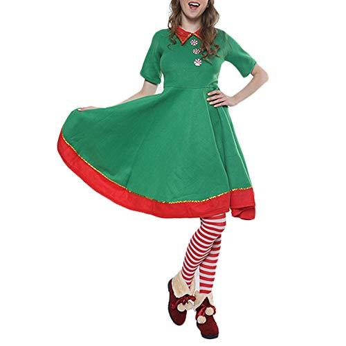 Disfraz de Navidad Verde para Mujer, Traje de Elfo navideño, Disfraz de Cosplay de Santa Claus, Vestido de Carnaval, Disfraz de Halloween-Metro