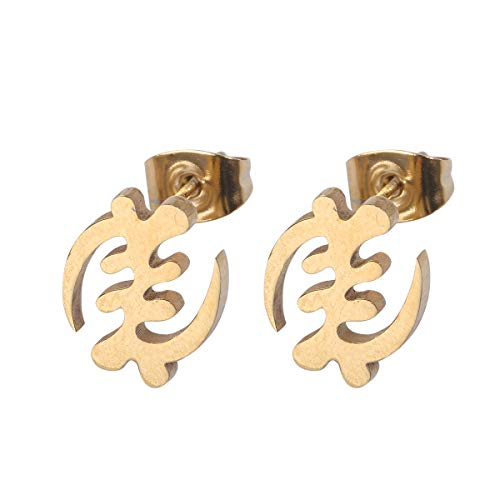 African Symbol Earrings Stainless Steel Adinkra Gye Nyame Earrings Ethnic Jewelry (Gold)
