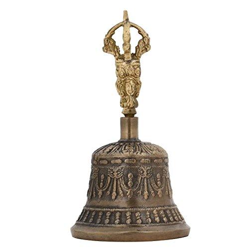 Purpledip Spirituelle, boeddhistische/Tibetaans messing bel met handvat van Dorje, voor zelfgenezing, yoga en meditatiegebed, religieus cadeau (10680)