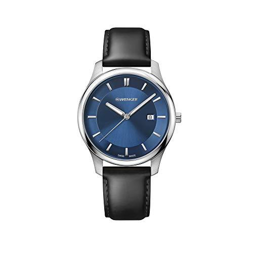 Wenger Hombre City Classic - Reloj de Acero Inoxidable/Cuero de Cuarzo analógico de fabricación Suiza 01.1441.118