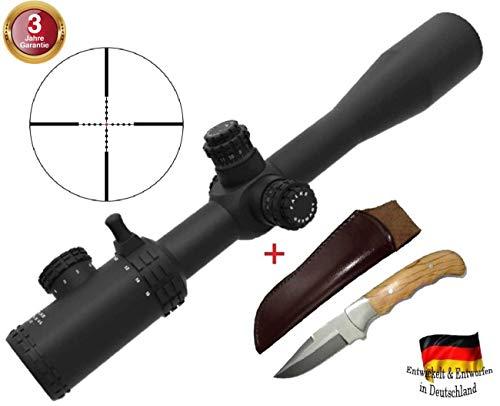 FALKE Zielfernrohr 4-16x44 TAC mit Mil-Dot Absehen, beleuchtet, verbesserte Modell 2018, Schussfest für alle Kaliber + Jagdmesser