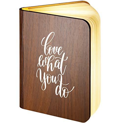 Grande. Lámpara personalizada de madera, plegable, magnética, LED, con forma de libro, que cuenta con Love What You Do