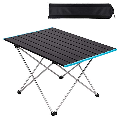 Folding Camping Table, Lightweight Aluminum Alloy Roll Up Table, Portable 3 Size S M L Fold Up Picnic Table With Carrying Bag, Outdoor Dining Table For Garden Patio BBQ Camping Accessories (Large)