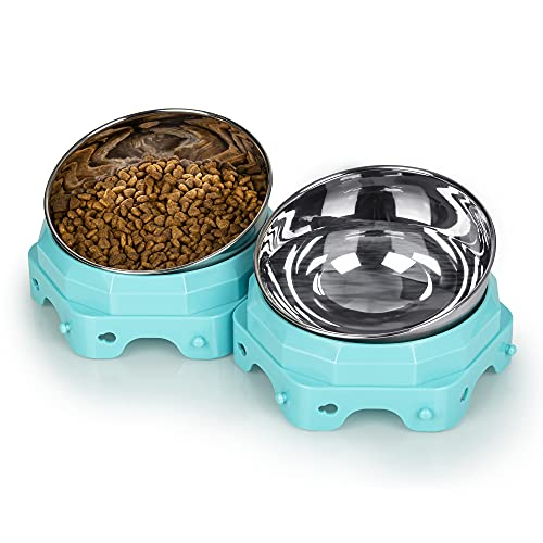 TRENZADO Elevated Cat Bowls, Raised Dog Bowls with 2 Stainless Steel Bowls, 2021 New Launch Sale, Pet Food Bowls for Cat and Small Dog, 0-15° Tilted Raised Cat Food and Water Bowls Set, Green