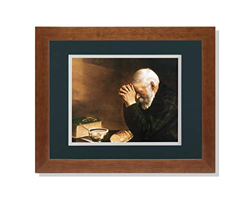 Art Prints Inc Daily Bread Man Praying at Table Grace Religious G/C Matted Picture Honey Framed