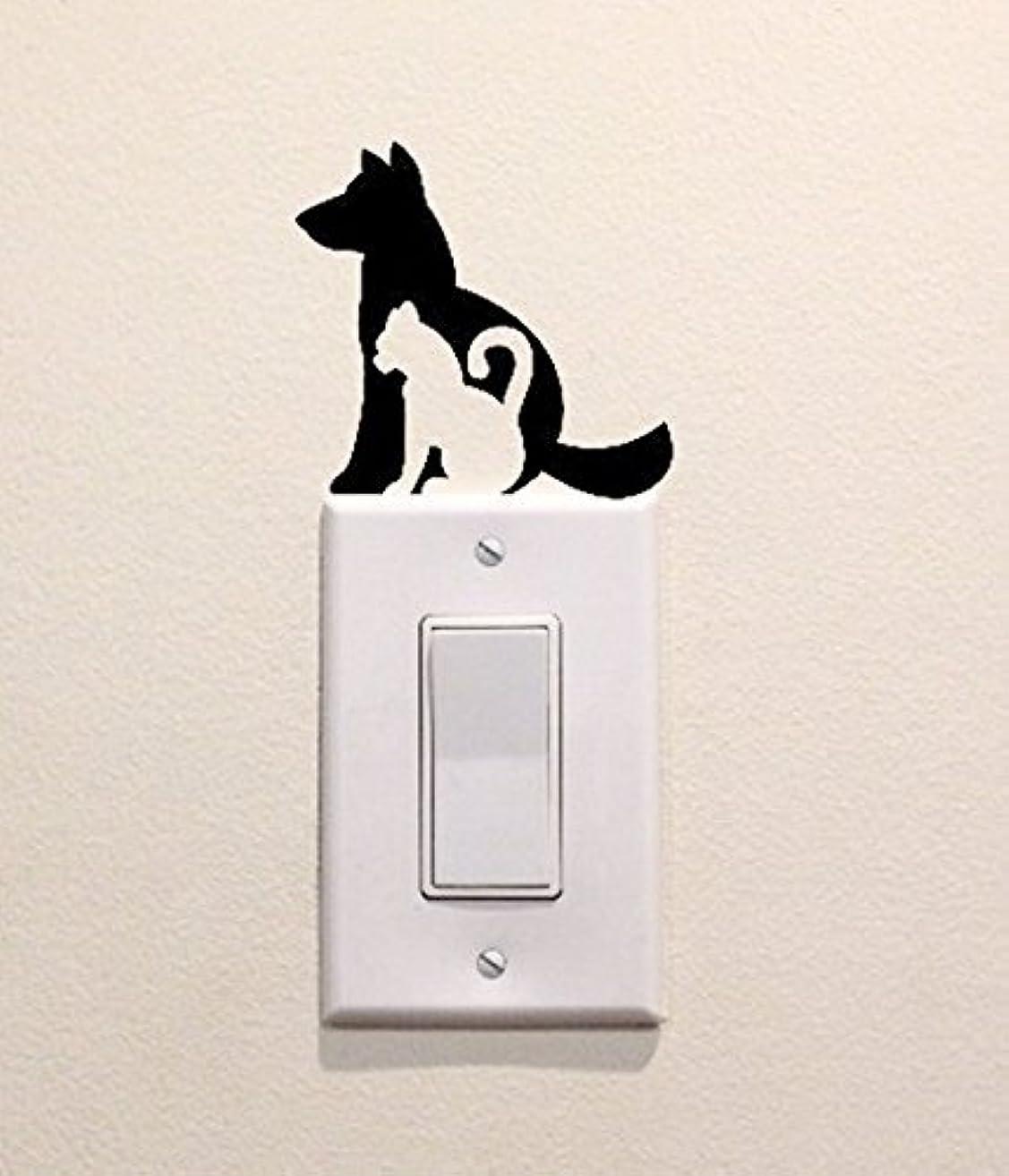Cat and Dog Sillhouette Vinyl Decal Sticker Light Switch Kids Nursery