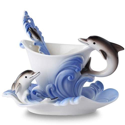 AICUP Farbige Emaille Kaffeebecher Porzellan Anzug Kreative Delfine Tassen Und Tassen Eine Tasse + Scheibe + Kugel Für Freund Vorhanden