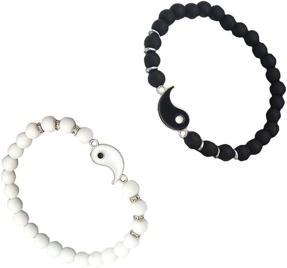 generic 2Pcs Natural Stone Bracelets Tai Beaded Bangle Wrist Chain Friendship Bracelet