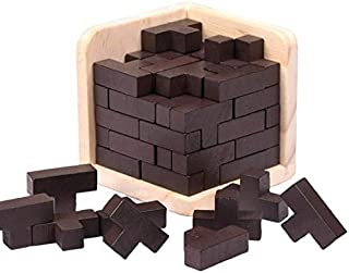 Shonye 3D Brain Teaser Wooden Puzzles Game for Party and Bar Genius Skills Builder T-Shape Pieces with Tetris Fit 54pcs Kongming Luban Jigsaw Lock(Brown)