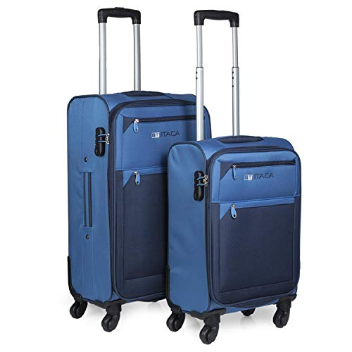ITACA - Juego de Maletas Viaje 4 Ruedas Trolley Poliéster EVA Extensibles. Resistentes y Ligeras. Mango 2 Asas y Candado. Pequeña Low Cost Ryanair y Mediana. 701015, Color Azul-Azul Marino